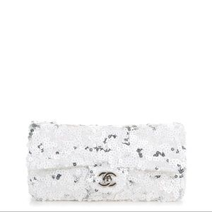 Chanel East West Single Flap in White Sequin